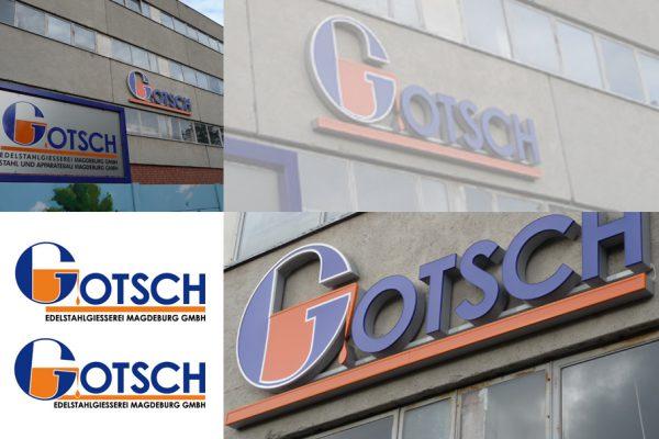 Logodesign Gotsch - Stahlgiesserei - Logo - Fassade - Aussenwerbrung