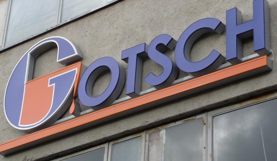 Gotsch - Stahlgiesserei - Logo - Fassade - Aussenwerbrung